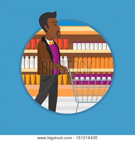 An african man pushing empty supermarket cart. Customer shopping at supermarket. Man walking with trolley on aisle at supermarket. Vector flat design illustration in the circle isolated on background.
