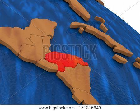 Honduras On Wooden Globe