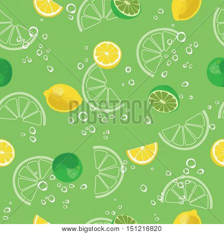 Lemon and lime lemonade seamless vector pattern. Lemonade green seamless background.