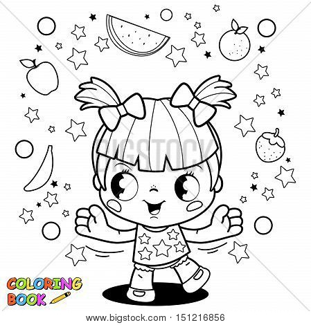 Vector black and white illustration of a happy little girl juggling with healthy fruits. Coloring book page.