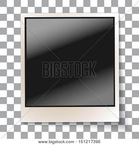 Old empty realistic glossy photo frame with transparent shadow on plaid black white background. Photo border to family album. Vector illustration for your design and business.