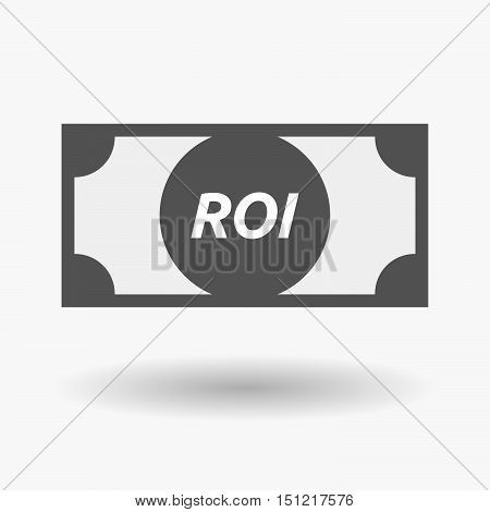 Isolated Bank Note Icon With    The Return Of Investment Acronym Roi