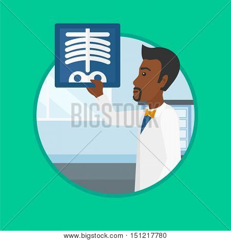 An african-american young doctor examining a chest radiograph in the medical office. Doctor observing a skeleton radiograph. Vector flat design illustration in the circle isolated on background.