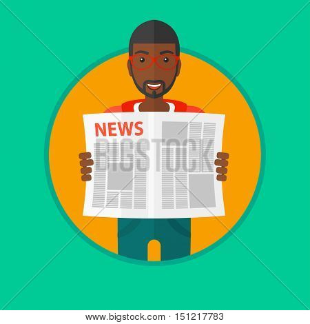 An african-american young happy man reading the newspaper. Young smiling man reading good news. Man with newspaper in hands. Vector flat design illustration in the circle isolated on background.