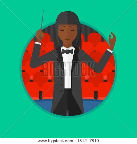 African-american orchestra conductor directing with baton. Young woman conducting an orchestra on the background of concert hall. Vector flat design illustration in the circle isolated on background.