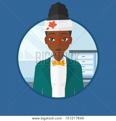 An african woman with bandages over her head. Sad woman with a bandaged head in the medical office. Wounded woman in the hospital. Vector flat design illustration in the circle isolated on background.