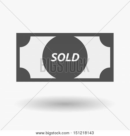 Isolated Bank Note Icon With    The Text Sold