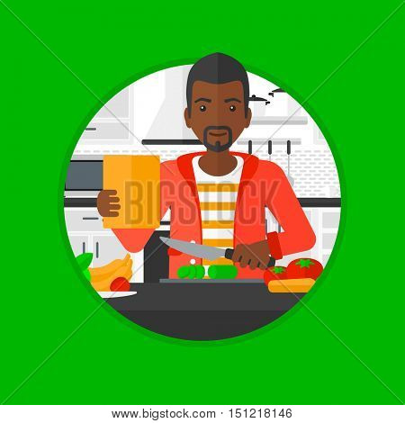 An african-american man cutting vegetables for salad. Man following recipe for salad on tablet. Man cooking salad in the kitchen. Vector flat design illustration in the circle isolated on background.