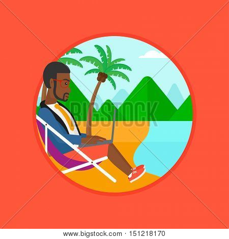 An african-american young businessman working on the beach. Businessman sitting in chaise lounge and working on a laptop. Vector flat design illustration in the circle isolated on background.
