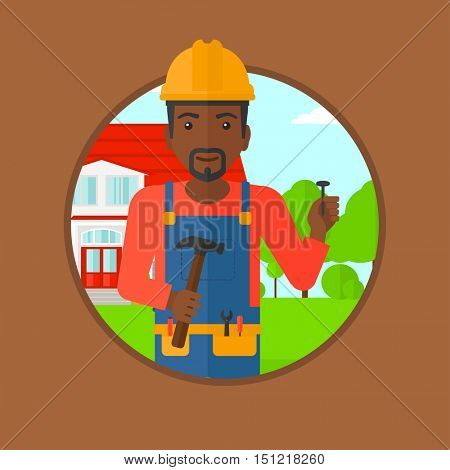 An african-american builder in uniform and helmet. A builder with hummer and nail in hands. Builder on a background of house. Vector flat design illustration in the circle isolated on background.