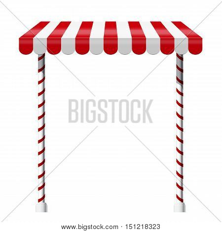Sale stand with red awning and red white striped rack. Product presentation template. Vector illustration