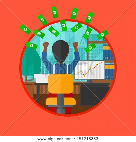 An african-american businessman with raised hands sitting in front of computer monitor with growing chart under money rain. Vector flat design illustration in the circle isolated on background.