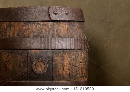a detail of old wooden beer barrel old vintage background