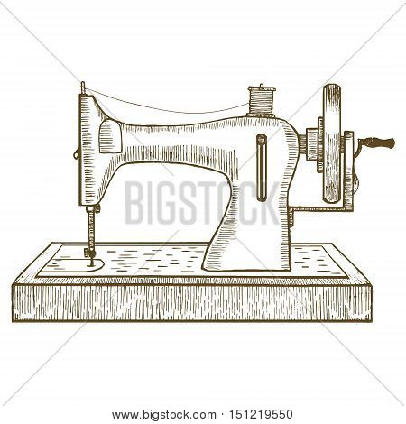 Sewing Machine Hand Draw Sketch for Your Design. Equipment of a Dressmaker or Seamstress. Vector illustration