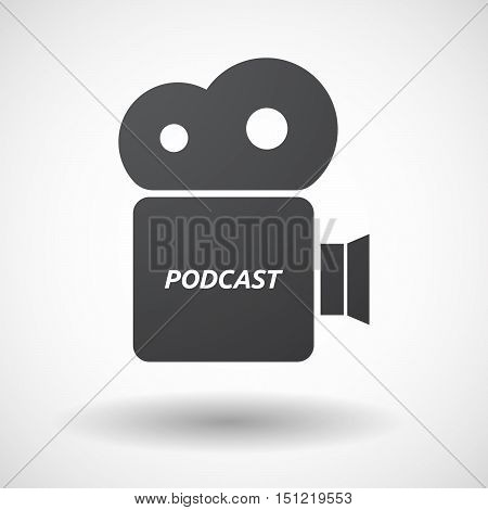 Isolated Film Camera Icon With    The Text Podcast