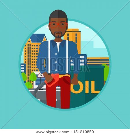 African-american man standing near oil barrel. Man holding gas pump nozzle on a city background. Man with gas pump and oil barrel. Vector flat design illustration in the circle isolated on background.