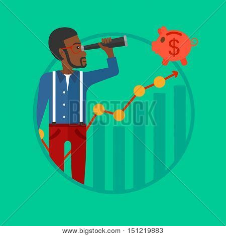 African-american businessman looking through spyglass at piggy bank standing at the top of growth graph. Business vision concept. Vector flat design illustration in the circle isolated on background.