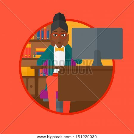 Worried african-american woman sitting at workplace in front of computer and clutching her head. Concept of business bankruptcy. Vector flat design illustration in the circle isolated on background.