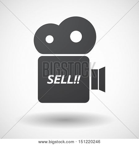 Isolated Film Camera Icon With    The Text Sell!!