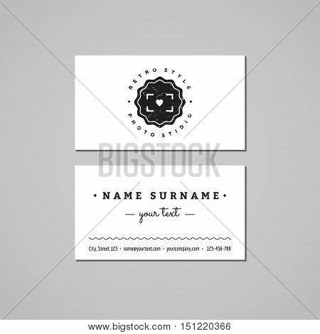 Photo studio business card design concept. Logo with heart and badge. Vintage hipster and retro style. Black and white.