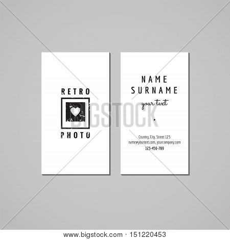 Photo studio business card design concept. Logo with heart on the photo. Vintage hipster and retro style. Black and white.
