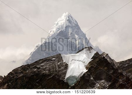 View of Ama Dablam on the way to Everest Base Camp Sagarmatha national park Khumbu valley Nepal