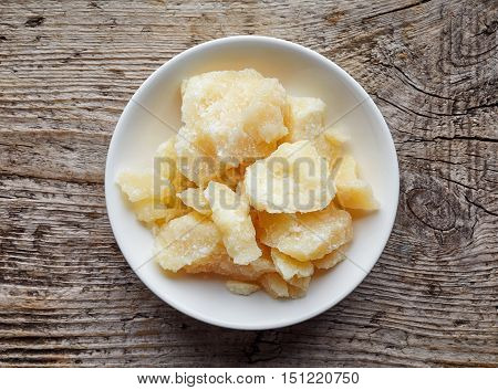 Parmesan Cheese In White Bowl, From Above