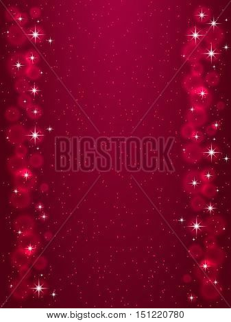 Frame with stars on the dark red background, sparkles golden symbols - star glitter, stellar flare. Vector illustrations