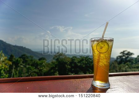Lemon ice tea glass with sea view on Samui island, Thailand