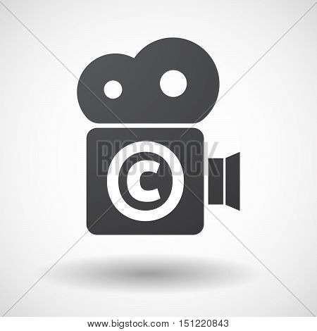 Isolated Film Camera Icon With    The  Copyright Sign