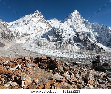 Beautiful view of mount Everest Lhotse and Nuptse from Pumo Ri base camp - way to Everest base camp Khumbu valley Sagarmatha national park Nepal
