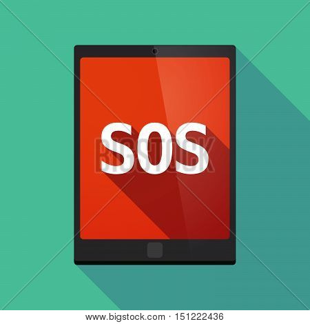 Long Shadow Tablet Pc With    The Text Sos