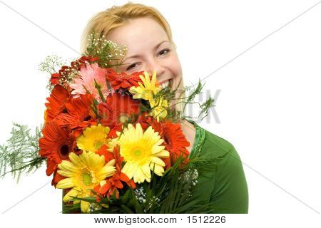 Woman Portrait With Flower Bouquet