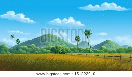 painting Illustration mountainin and cornfield at daytime