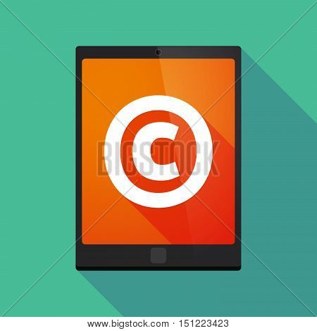Long Shadow Tablet Pc With    The  Copyright Sign