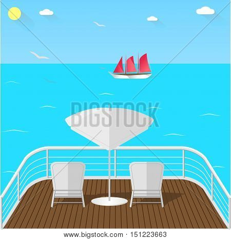 Sea view balcony with white armchairs and umbrella wooden floor and white railing. Horizon view ship with red sail gulls and blue sea. Sea traveling vector illustration.