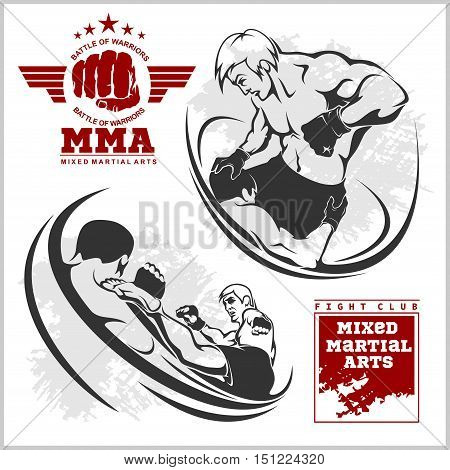 Match two fighters of martial mixed arts on grunge background and labels.