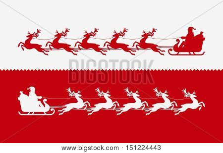 Santa Claus in sleigh pulled by reindeer. illustration vector