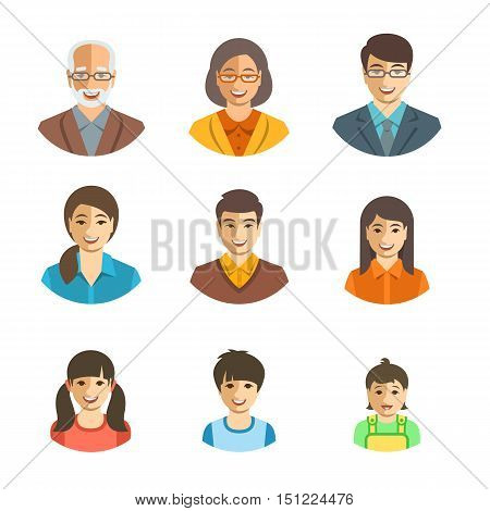 Asian family happy faces. Vector flat avatars. People generation simple icons. Mother, father and adult, teen and little kids. Japanese, Chinese portraits. Young, senior men and women, boys and girls, baby