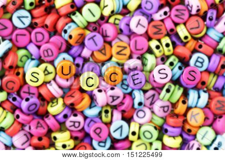 Success Text Letter Beads Combination Seeking Success Concept