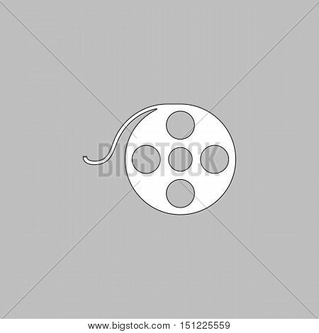 Film reel Simple line vector button. Thin line illustration icon. White outline symbol on grey background