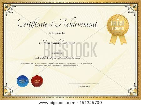Certificate template for achievement appreciation or completion in gold theme