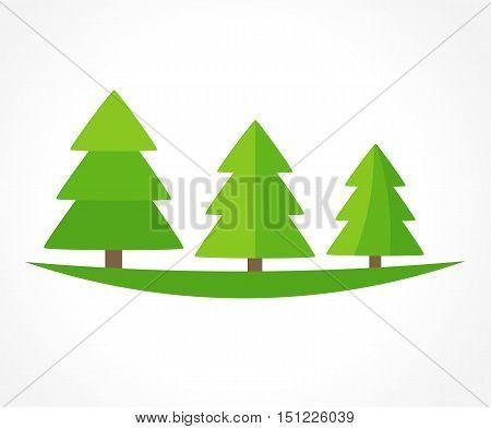 Christmas trees logo or symbolic forest. Graphic design illustration