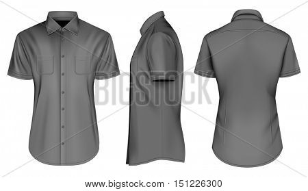 Men's short sleeved formal button down shirts. Front, side and back views. Fully editable handmade mesh, Vector illustration.
