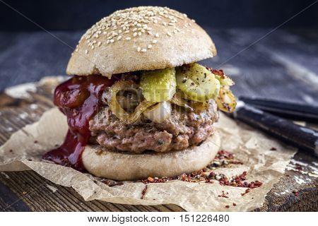 Barbecue Hamburger with Ketchup