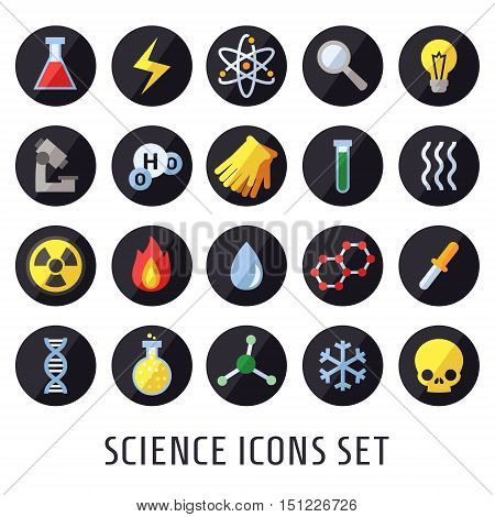 Science vector icons. Chemistry Physics and Biology. Modern flat design.
