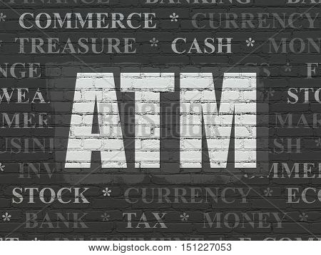 Currency concept: Painted white text ATM on Black Brick wall background with  Tag Cloud