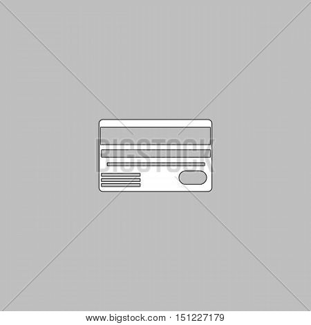 Credit card Simple line vector button. Thin line illustration icon. White outline symbol on grey background