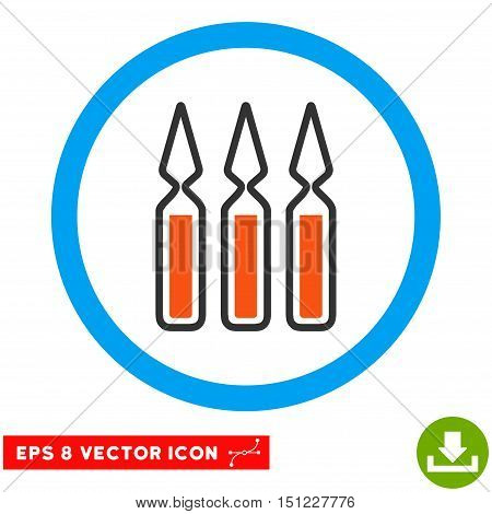 Rounded Ampoules EPS vector icon. Illustration style is flat icon symbol inside a blue circle.