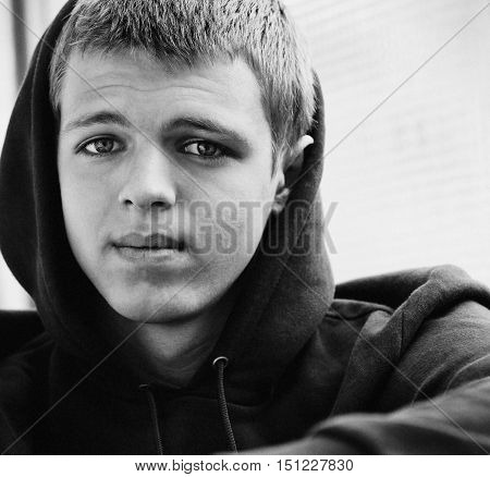 Black and white portrait of a teen closeup